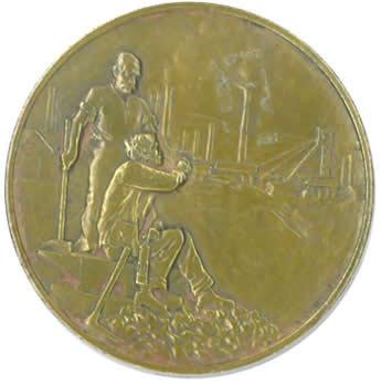 Ouvriers mineurs, médaille du Centenaire de l'Ecole des Mines 1816-1916 ©EMSE