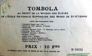 Billet de tombola, Archives Municipales de Saint-Étienne 18S148