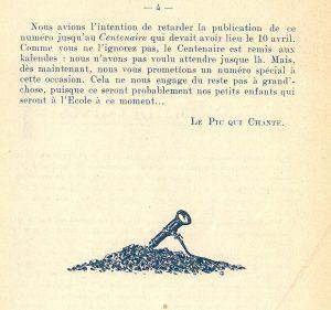 Le Pic qui chante n°4, 1921 © Mines Saint-Étienne Alumni