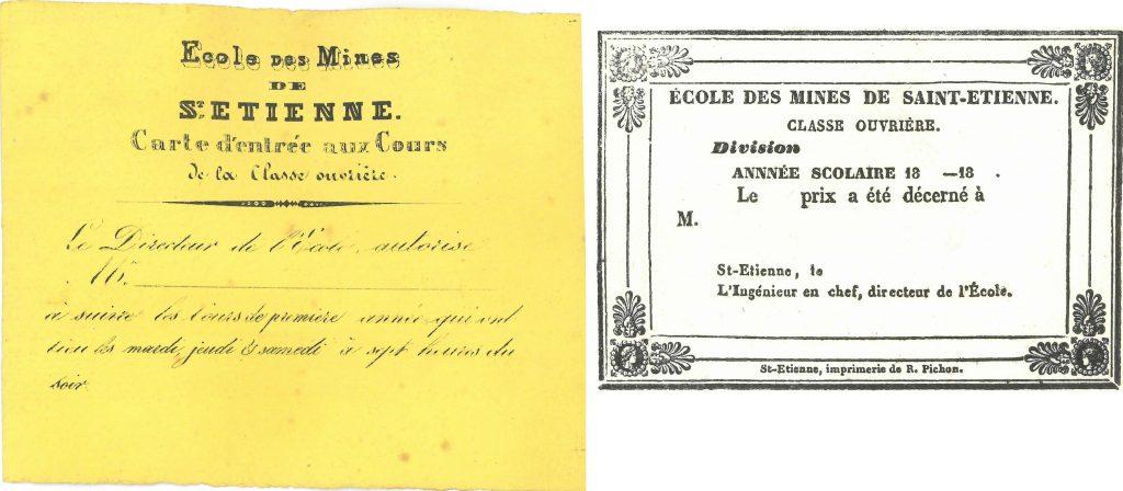 Cours de la classe ouvrière : ticket d'entrée et carte de prix – Archives Départementales de la Loire