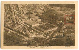 Situation de l'usine Giron (au centre) et de l'École des Mines (encadré rouge) © Médiathèques de Saint-Étienne