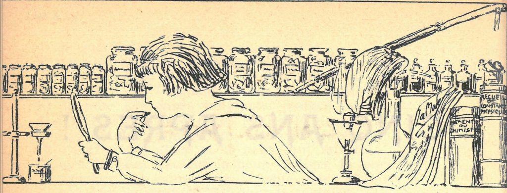 Dessin de l'élève femme dans l'acte premier de la revue de la Ste Barbe de décembre 1919 © Alumni Mines Saint-Étienne