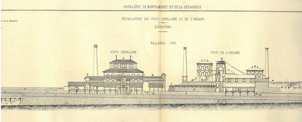 Puits Devillaine et de l'Ondaine, Atlas de la Société Industrie Minérale 1872-74 © MINES Saint-Étienne