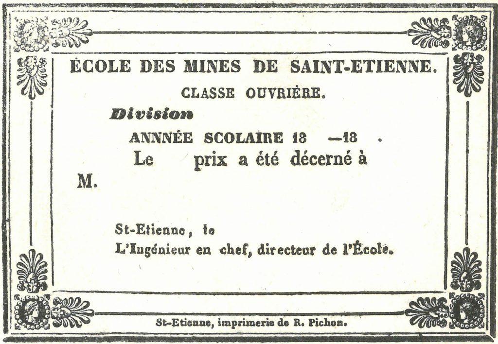 Attestation de prix remis aux lauréats de la Classe ouvrière © Archives Municipales de Saint-Etienne