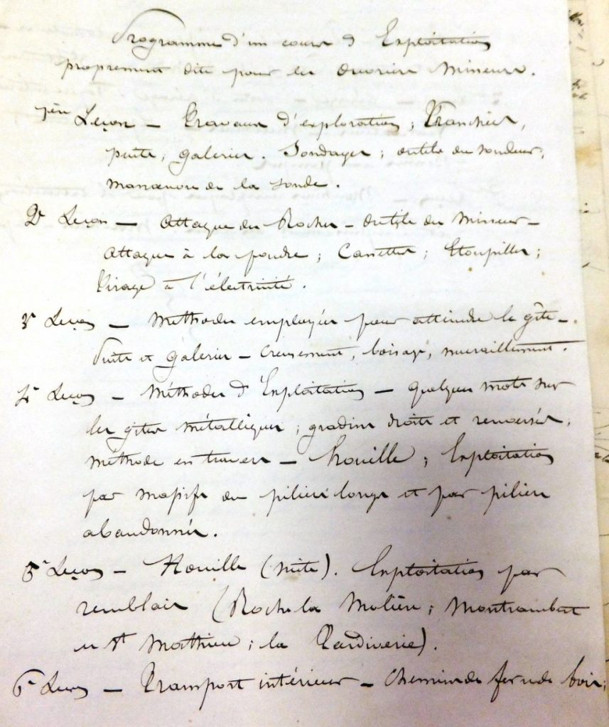 Programme d'un enseignement de la Classe ouvrière © Archives Municipales de Saint-Étienne