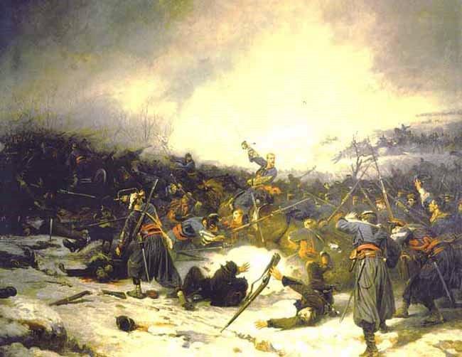Les zouaves pontificaux à La bataille de Loigny, Charles Castellani (1838-1913) 1879, Musée de l'Armée, Paris