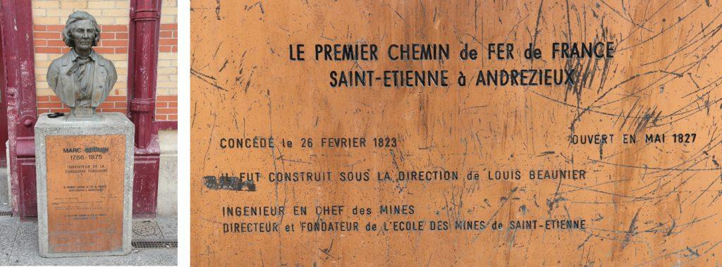 Monument aux premier (Louis Antoine Beaunier) et second Chemin de fer (Marc Seguin) de France et détail – Gare de Châteaucreux, Saint-Etienne © H. Jacquemin