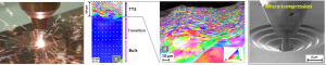 Left : Surface treatment. Middle : microstructural consequences measured by EBSD. Right : design of novel experiments to characterize the micro-mechanical behaviour